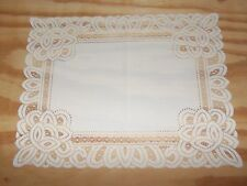 New White Lace Battenburg design Table Doily/Placemat 19 x 14 set of 2
