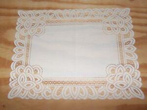 Lace Table Doily/Placemat  White Battenburg design  19 x 14 set of 2