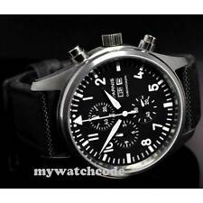 42mm PARNIS black dial vintage style luminous quartz chronograph mens watch P21