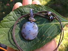 Utah Agate Necklace with Dendritic Inclusions /Blue-Black Oregon Agate Beads