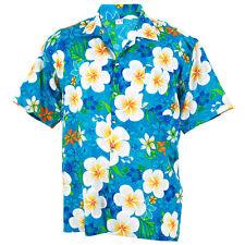 Hawaiihemd Hawaihemd Hawaii Hemd Hawaiian Big Plumeria Frangipan Blue XXL hf258c