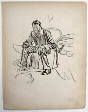 F. H. Townsend (1868–1920) charcoal drawing. Seated male figure. Editor of Punch