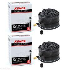 "(2) Two Kenda 20"" x 1.75/1.95/2.35 Schrader Valve BMX Bike Tire Tubes Recumbent"