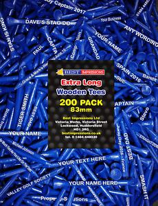 Golf Tees Personalised 83mm Dark Blue Wooden Tees - 200 PACK - extra long