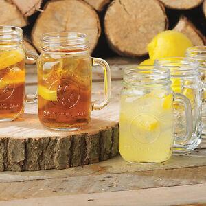 Libbey Glass #97085  12 - 16 oz MASON JARS/W HANDLE  GLASS SET COUNTY FAIR