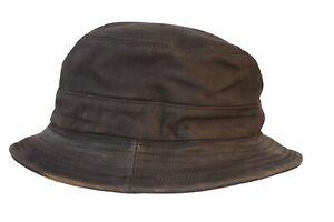 Wegener Bucket Hat, Hut aus 100% Leder mit gestepptem Innenfutter