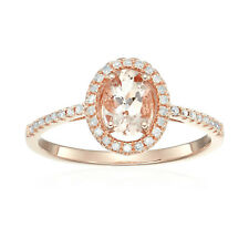 14k Rose Gold Morganite and Diamond Halo Engagement Ring (1/6 cttw, H-I Color, I