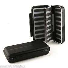 Black Waterproof Fly Fishing Box Slit Foam Insert With Swing Leaf Hold 504 Flies