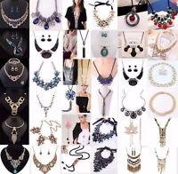 Fashion Jewelry Women Bib Chain Pendant Crystal Choker Chunky Statement Necklace