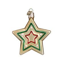 """Sugar Cookie"" (Star) (32183)X Old World Christmas Glass Ornament w/OWC Box"