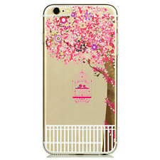 iPhone 6/6s (4'7) Dibujos carcasa gel silicona transparente rosa pajaros árbol