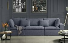 Large Couch Classic Lounge Sofa Living Room Linen Fabric Sofa (Dark Grey)