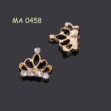 2 St. 3D Nagelschmuck Deko Nail Art Krone Strass gold  MA0458