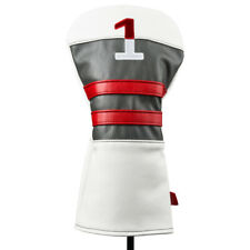 NEW Callaway Vintage Style Leather White/Charcoal/Red Driver Headcover