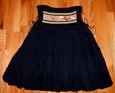 ** RINASCIMENTO ** Made in Italy Black Balloon Hem Gypsy Boho Beaded Skirt M / L