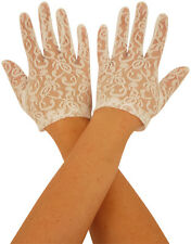 Womens WHITE LACE GLOVES Fancy Dress 80s Party Ladies Hen Night Costume