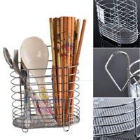Hanging Tableware Tube Cage Rack Drain Chopsticks Spoon Holder Metal Organizer