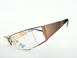 Ausgefallene Brillenfassung schmal kupfer-braun Metallgestell breite Bügel Gr. M