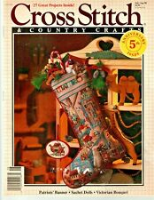 Cross Stitch & Country Crafts Magazine July/Aug 1990 Holiday Workshop Stocking