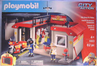 """Playmobil 5663 - Carrying Case """"City Action"""" Take Along Fire Station 62 pc MIP"""