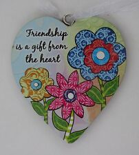 zzbd Friendship is a gift from the heart simple Love Heart Ornament ganz