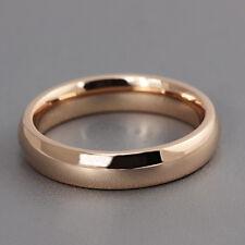 4mm Smooth Titanium Steel Band Engagement Ring Men/Women Rose Gold Filled Sz 5-9
