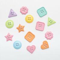 Assortiment de 50 Boutons Fantaisie Mixtes Scrapbooking - Formes Pastels