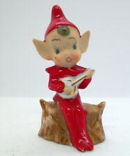 "Vintage Japan Pixie Elf on Log Figurine holding instrument 3-5/8"""