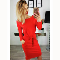 Women Bows Long Sleeve Pocket Casual Party Evening Bodycon Midi Cocktail Dress