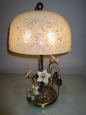 "Vtg BANCI ITALY- ""FANTASY FLORAL"" ACCENT LAMP- METAL+ART GLASS with DOME SHADE"