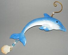 *Delfin*Fensterhänger*Anhänger*Windspiel*Fensterdeko*Wanddeko*Blau*Metall*Neu