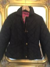 JOULES Black QUILTED Fitted JACKET Size 8 Fully Lined VGC