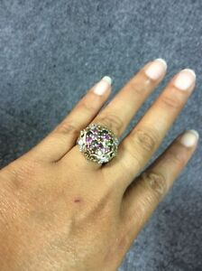 Beautiful Michael Valitutti NH sterling 925 2 tones  Multi Gems  Ring Size 8.5