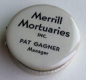 "Vintage MERRILL MORTUARIES INC. 48"" Retractable Cloth Advert Tape Measure USA"