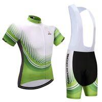 Men's Green Cycle Jersey and Gel Padded Bike (Bib) Shorts Cycling Gear Set S-5XL