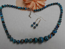 Handmade howlite turquoise colourful gemstone jewellery set necklace/earrings