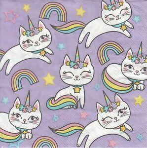 3 Cocktail Papier Servietten Napkins (Z31-9) Regenbogen - Einhorn - Katzen