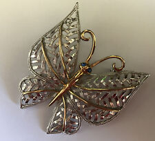 AVON Vintage Fashion Jewelry BUTTERFLY gold & silver tone filigree pin brooch
