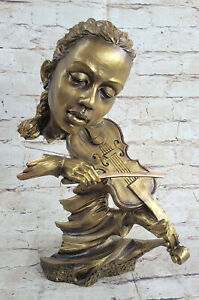 American Music Star Violin Player bronzed Figures Large Sculpture Ornaments Home