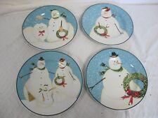 WARREN KIMBLE SAKURA SNOWMAN FAMILY SALAD PLATES (4)