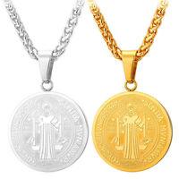 St. Benedict Medal Round Pendant Stainless Steel Necklace Catholic Patron Jewel