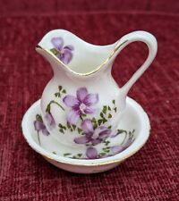 More details for vintage lu pao miniature fine bone china violets wash bowl and water pitcher/jug