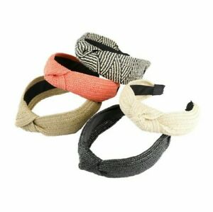 Women Summer Hairband Straw Weave Hair Knotted Band Hair Wide Hoop Knot Headband