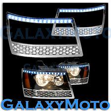 07-14 Chevy Avalanche+Tahoe+Suburban Chrome Headlight Trim+LED Bezel Cover 2013