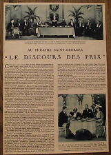 Artcicle Theatre St Georges,Le discours des prix,,piéce , 1934