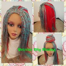 """Gorgeous Senegalese Twist WIG no lace front  Color # Red & Blue 17"""" to 22"""""""