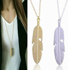 New Feather Pendant Long Chain Necklace Women Boho Jewelry Charms Vintage Silver