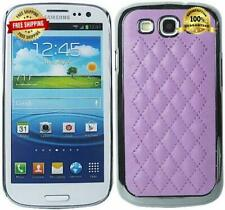 Samsung Galaxy S III S3 Case Cover Purple Chrome Silver Quilted Leather Silver
