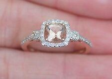 New 10K S7 Natural Pink Morganite & 1/4ct Diamond Halo Engagement Ring Rose Gold