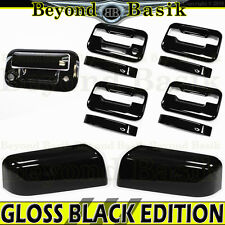 04-08 F150 Crew GLOSS BLACK Door Handle noKH wKP+Top Mirror+Tailgate wCam Covers